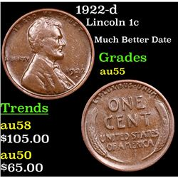 1922-d Lincoln Cent 1c Grades Choice AU