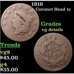 1816 Coronet Head Large Cent 1c Grades vg details