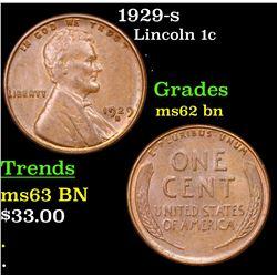 1929-s Lincoln Cent 1c Grades Select Unc BN