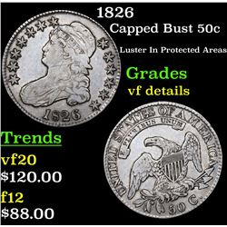 1826 Capped Bust Half Dollar 50c Grades vf details