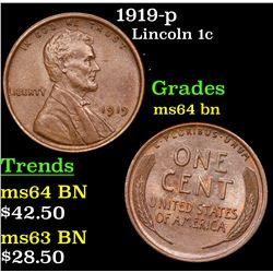 1919-p Lincoln Cent 1c Grades Choice Unc BN