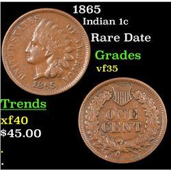 1865 Indian Cent 1c Grades vf++