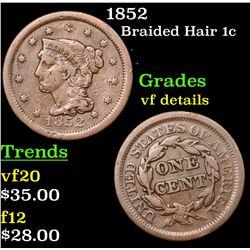 1852 Braided Hair Large Cent 1c Grades vf details