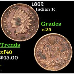 1862 Indian Cent 1c Grades vf++