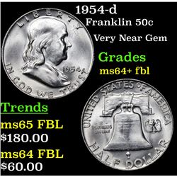 1954-d Franklin Half Dollar 50c Grades Choice Unc+ FBL
