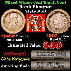 Mixed small cents 1c orig shotgun roll, 1920-d Wheat Cent, 1899 Indian Cent other end
