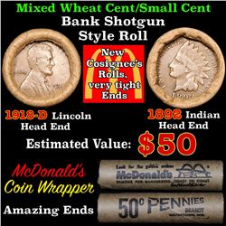 Mixed small cents 1c orig shotgun roll, 1918-d Wheat Cent, 1892 Indian Cent other end