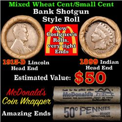 Mixed small cents 1c orig shotgun roll,1913-d Wheat Cent,1899 Indian Cent other end