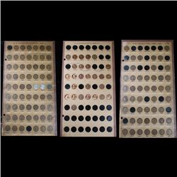 3 Partial Lincoln cent pages 1909-1970 133 coins . Grades