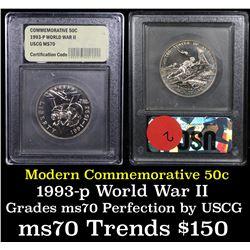 1991-1995-P WWII Modern Commem Half Dollar 50c Grades ms70, Perfection