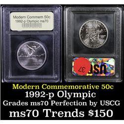 1992-p Olympic Modern Commem Half Dollar 50c Grades ms70, Perfection