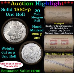 ***Auction Highlight*** Full UNCIRCULATED solid date 1885-p Morgan silver $1 roll, 20 coins   (fc)
