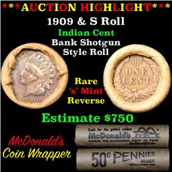 ***Auction Highlight*** Indian 1c Shotgun Roll, 1909 end, KEY date 's' mint other, Wow! . . (fc)