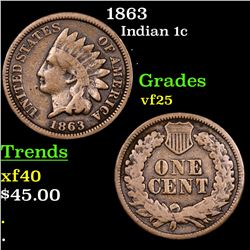 1863 Indian Cent 1c Grades vf+