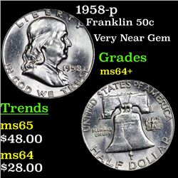 1958-p Franklin Half Dollar 50c Grades Choice+ Unc