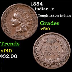 1884 Indian Cent 1c Grades vf++
