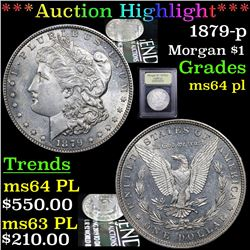 ***Auction Highlight*** 1879-p Morgan Dollar $1 Graded Choice Unc PL By USCG (fc)