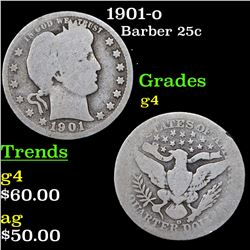 1901-o Barber Quarter 25c Grades g, good