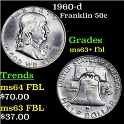 1960-d Franklin Half Dollar 50c Grades Select Unc+ FBL