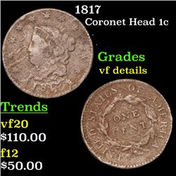 1817 Coronet Head Large Cent 1c Grades vf details