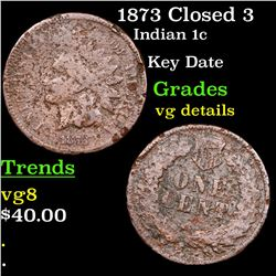 1873 Closed 3 Indian Cent 1c Grades vg details