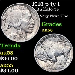 1913-p ty I Buffalo Nickel 5c Grades Choice AU/BU Slider