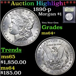 ***Auction Highlight*** 1890-p Morgan Dollar $1 Graded Choice+ Unc By USCG (fc)