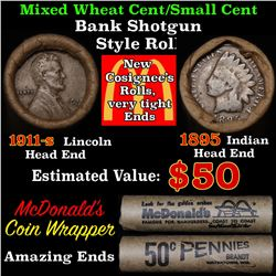 Mixed small cents 1c orig shotgun roll, 1918-s Wheat Cent, 1895 Indian Cent other end