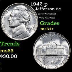 1942-p Jefferson Nickel 5c Grades Choice+ Unc