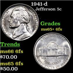1941-d Jefferson Nickel 5c Grades GEM+ 6fs