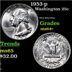 1953-p Washington Quarter 25c Grades Choice+ Unc