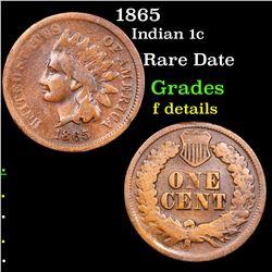 1865 Indian Cent 1c Grades f details