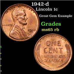1942-d Lincoln Cent 1c Grades GEM Unc RB