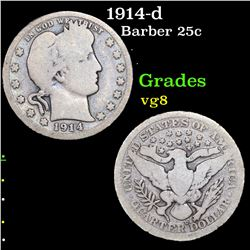 1914-d Barber Quarter 25c Grades vg, very good