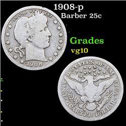 1908-p Barber Quarter 25c Grades vg+