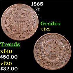 1865 Two Cent Piece 2c Grades vf+