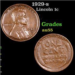 1929-s Lincoln Cent 1c Grades Choice AU