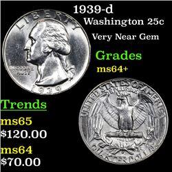 1939-d Washington Quarter 25c Grades Choice+ Unc