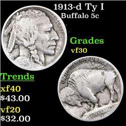 1913-d Ty I Buffalo Nickel 5c Grades vf++