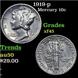 1919-p Mercury Dime 10c Grades xf+