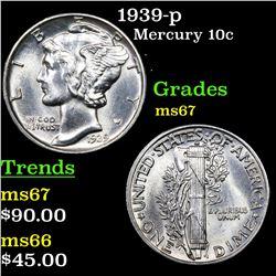 1939-p Mercury Dime 10c Grades GEM++ Unc
