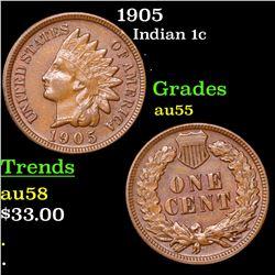 1905 Indian Cent 1c Grades Choice AU