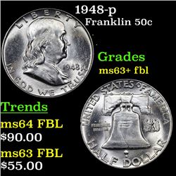 1948-p Franklin Half Dollar 50c Grades Select Unc+ FBL