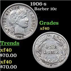 1906-s Barber Dime 10c Grades xf