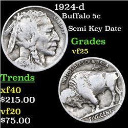 1924-d Buffalo Nickel 5c Grades vf+