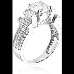 Sterling Silver Round Cut Tiered Pave Ring Size 7
