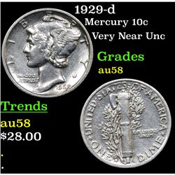 1929-d Mercury Dime 10c Grades Choice AU/BU Slider