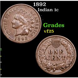 1892 Indian Cent 1c Grades vf+