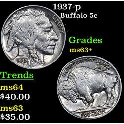 1937-p Buffalo Nickel 5c Grades Select+ Unc