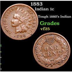 1883 Indian Cent 1c Grades vf+